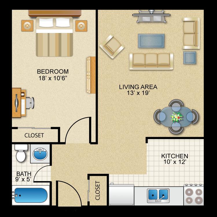 1BR/1BA Catskill Floor Plan 2