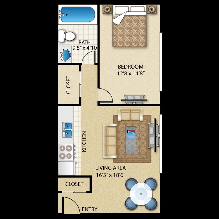 1BR/1BA Hudson Floor Plan 1