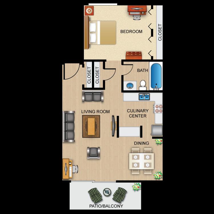 One Bedroom, One Bath Floor Plan 1