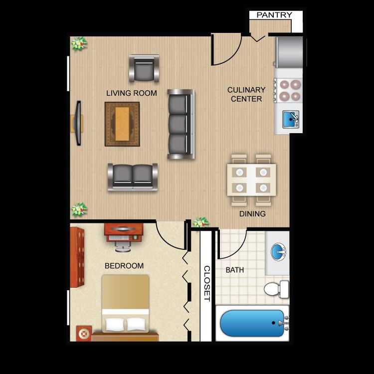 One Bedroom Jr. Floor Plan 4