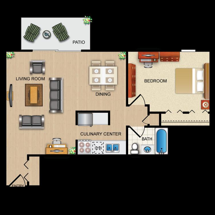 Suite A Floorplan. Floor Plan1 Bedroom Patio ...