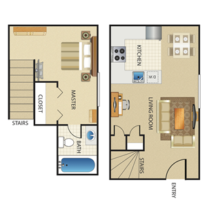 1BR/1BA Orchid Townhome