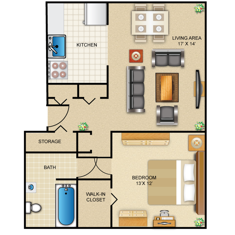 1 Bedroom 1 Bath Grand