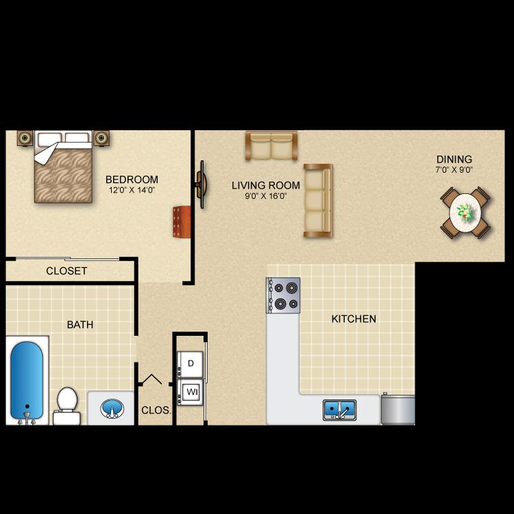 1 Bedroom 1 Bath + Dining Room