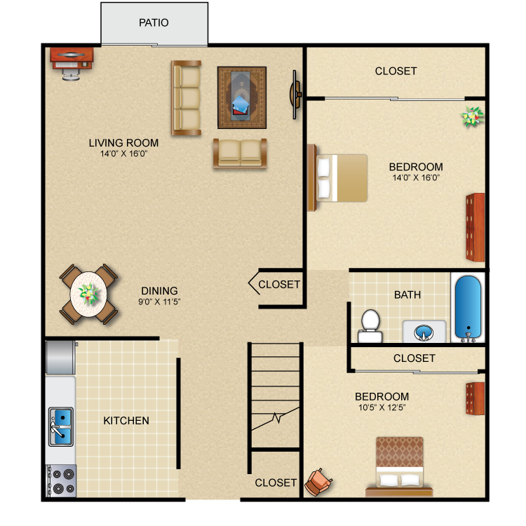 2 Bedroom 1 Bath Ranch Townhome
