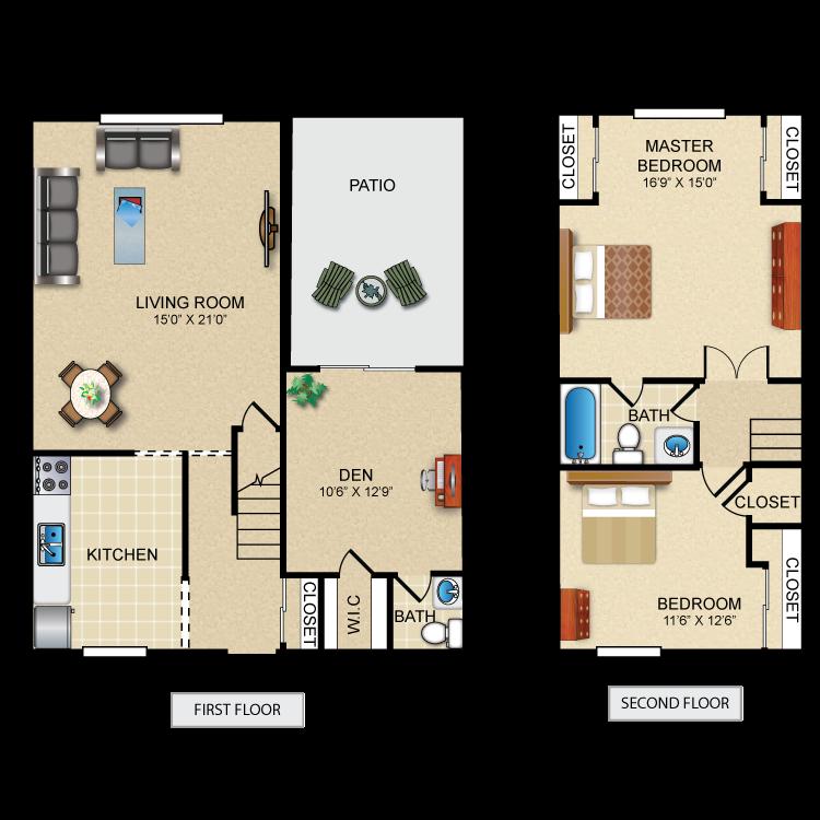 3 Bedroom 1.5 Bath Townhome Deluxe