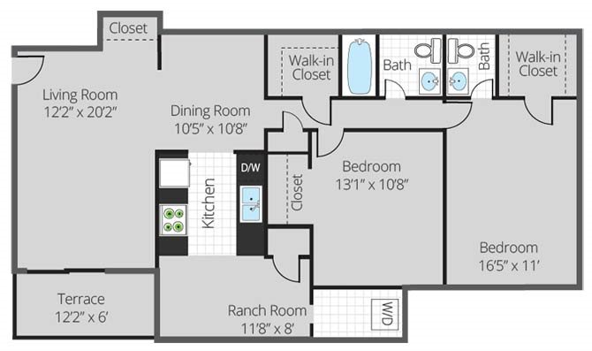 2 Bed 2 Bath Deluxe Floor Plan 6