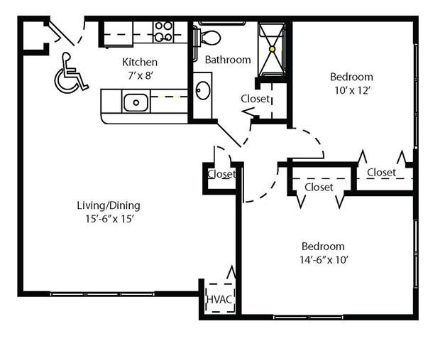 Two Bedroom Apartment Floor Plan 2
