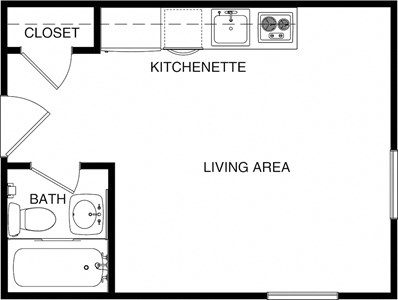 Studio 2D Floorplan-Chancellor Apartments Los Angeles, CA