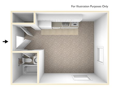 Studio 3D Unfurnished Floorplan-Chancellor Apartments Los Angeles, CA