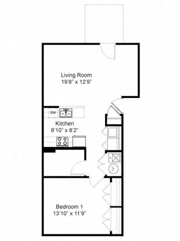 One Bedroom Flat Floor Plan 1
