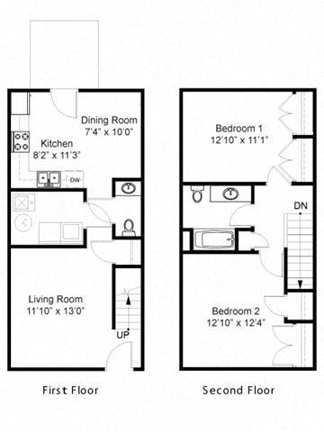 Two Bedroom Townhouse Floor Plan 2