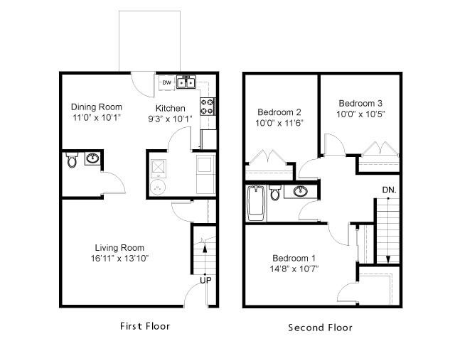 Three Bedroom Townhouse Floor Plan 3