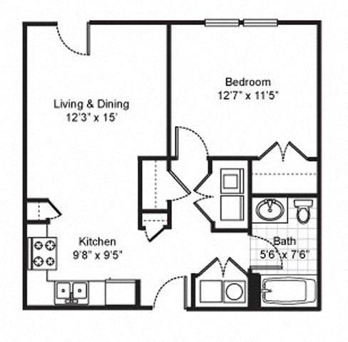 1 Bedroom 1 Bath 2D Floorplan-Fairfield Apartments Pittsburgh, PA