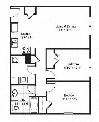 2 Bedroom 1 Bath 2D Floorplan-Fairfield Apartments Pittsburgh, PA