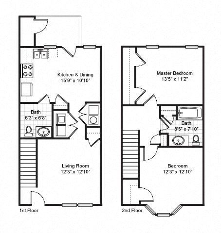 2 Bedroom 1.5 Bath Townhouse 2D Floorplan-Fairfield Apartments Pittsburgh, PA
