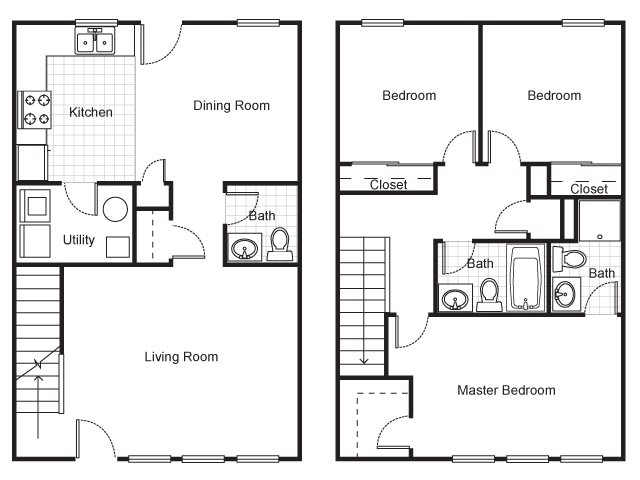 Three Bedroom Townhouse Floor Plan 4
