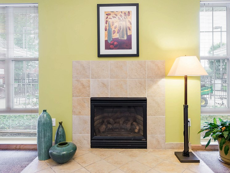 Clubhouse fireplace-Horace Mann Apartments, Gary, IN