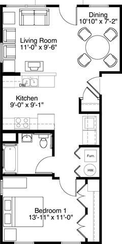 1 Bedroom 1 Bath 2D Floorplan-Horace Mann Apartments, Gary, IN