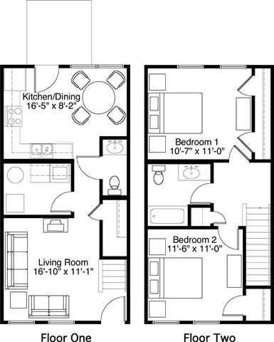 2 Bedroom 1.5 Bath 2D Floorplan-Horace Mann Apartments, Gary, IN