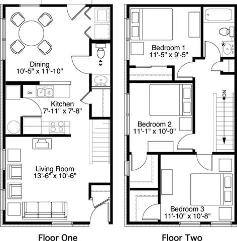 3 Bedroom 1.5 Bath 2D Floorplan-Horace Mann Apartments, Gary, IN