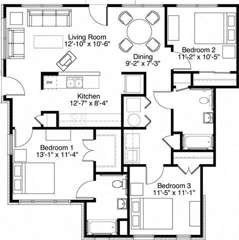 3 Bedroom 2 Bath 2D Floorplan-Horace Mann Apartments, Gary, IN