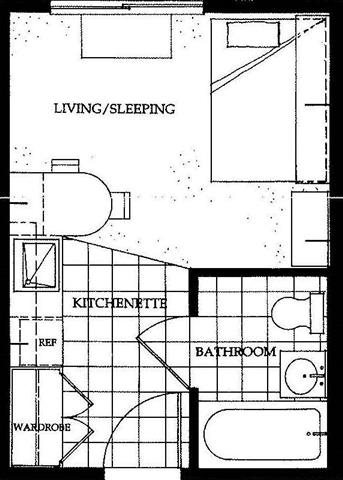 Studio Apartments Floor Plan 1