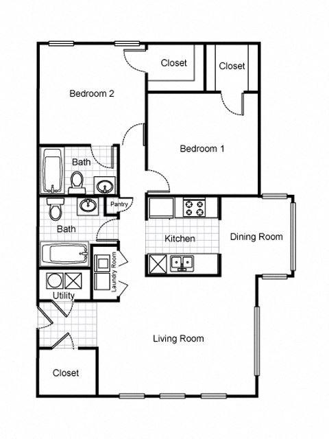 2 Bedroom 2 Bathroom 2D FloorplanLafayette Village Apartments property logo Jersey City, NJ
