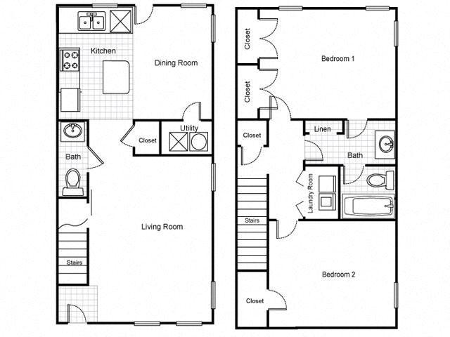 2 Bedroom 1.5 Bath Townhouse 2D FloorplanLafayette Village Apartments property logo Jersey City, NJ