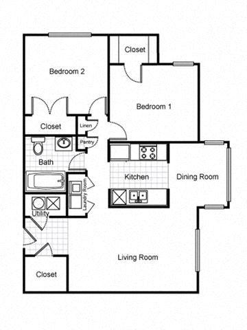 2 Bedroom 1 Bath 2D FloorplanLafayette Village Apartments property logo Jersey City, NJ