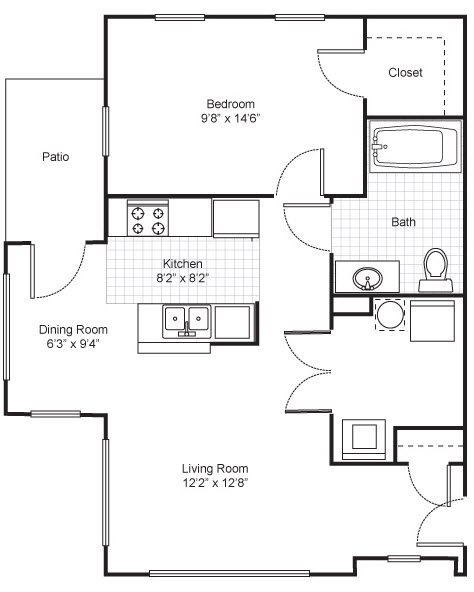 One Bedroom Garden Apartment Floor Plan 1