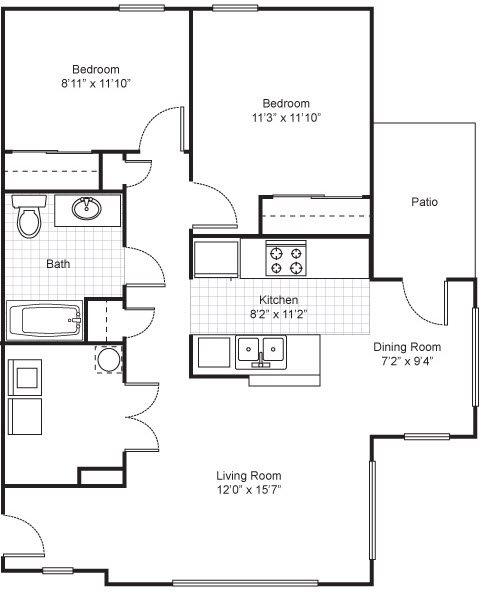 Two Bedroom Garden Apartment Floor Plan 3