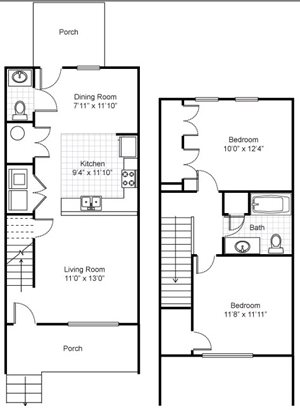 Two Bedroom Townhouse Apartment