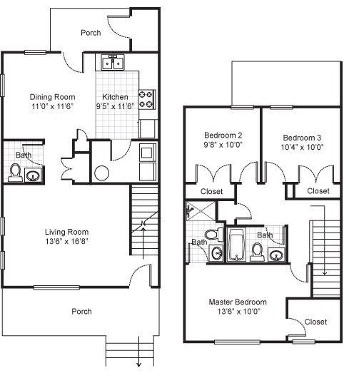 Three Bedroom Townhouse Apartment Floor Plan 4