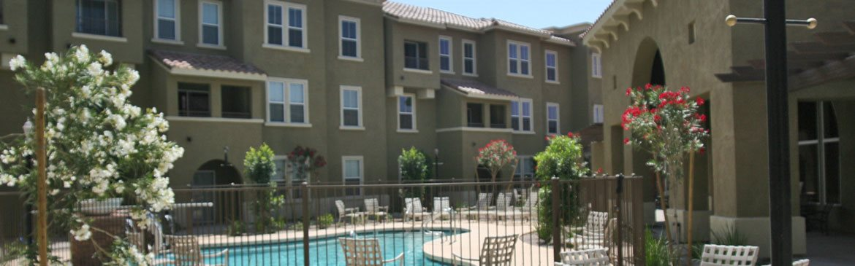 Outdoor pool area-Senior Living at Matthew Henson Apartments Phoenix, AZ