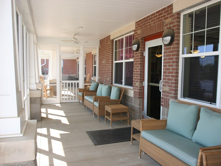 Community outdoor seating area-Senior Living at University Place Apartments, Memphis, TN 38104