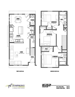 3 Bedroom 2.5 Bath 2D Floorplan-The Symphony Apartments Phoenix, AZ