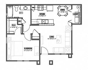 1 Bedroom 1 Bath 2D Floorplan-The Symphony Apartments Phoenix, AZ