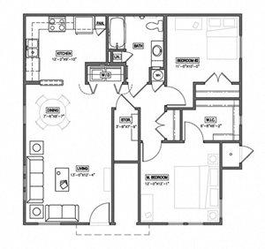 2 Bedroom 1 Bath 2D Floorplan-The Symphony Apartments Phoenix, AZ