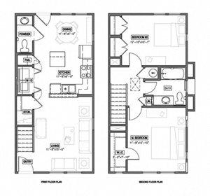 2 Bedroom 1.5 Bath Townhouse 2D Floorplan-The Symphony Apartments Phoenix, AZ