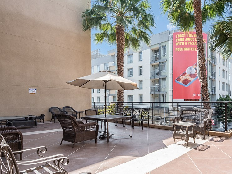 Courtyard area-Triangle Square Apartments, Los Angeles, CA