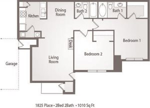 B2 Floor Plan 1825 Place Apartments