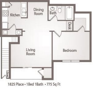 A1 Floor Plan 1825 Place Apartments