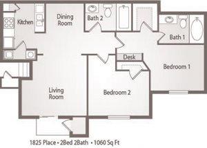 B3 Floor Plan 1825 Place Apartments