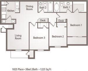 C1 Floor Plan 1825 Place Apartments