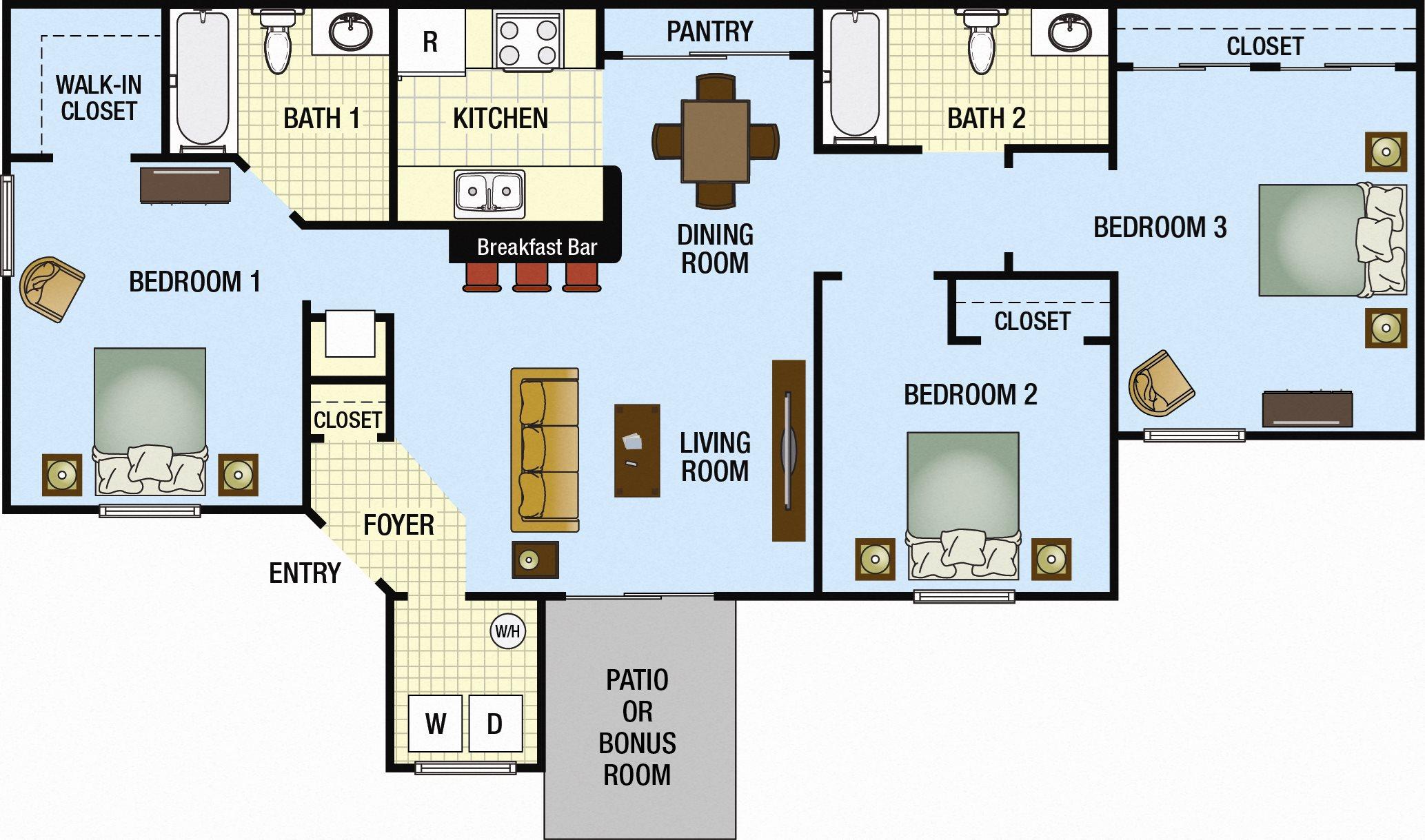 Three Bedroom Two Bath Floor Plan 3