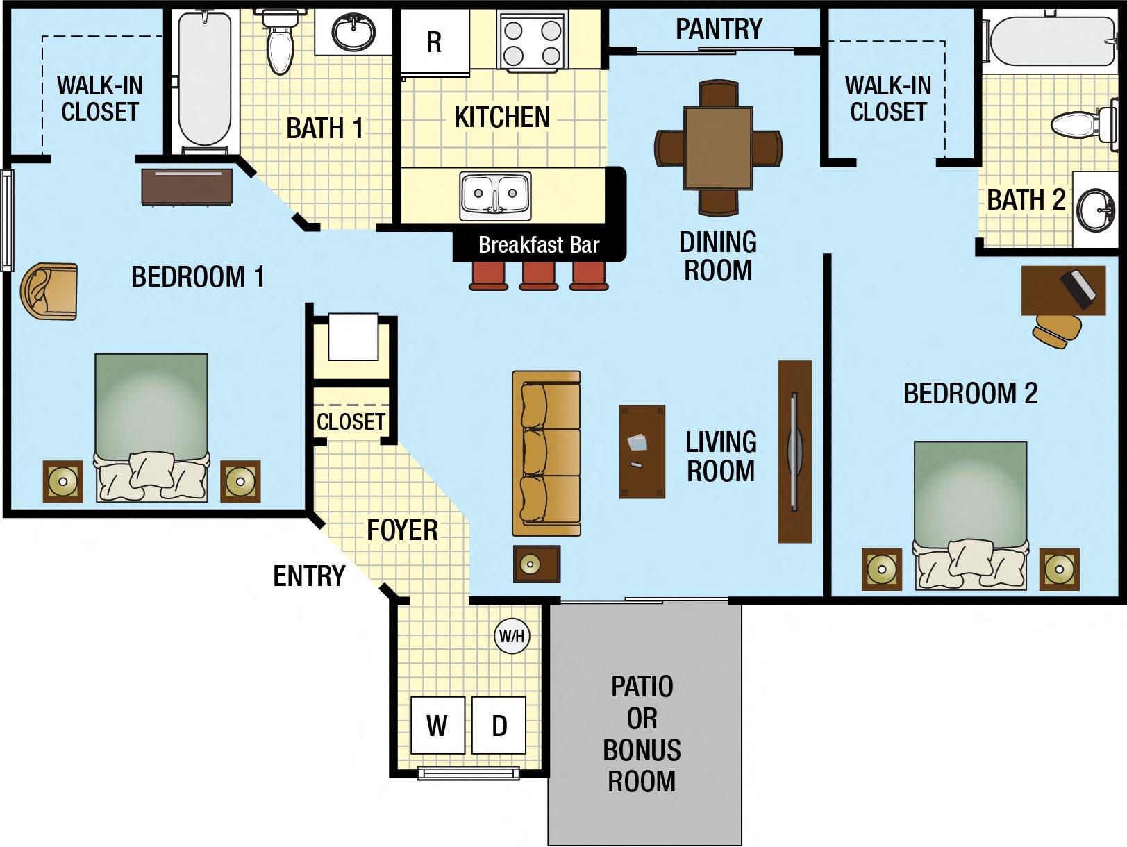Two Bedroom Two Bath Floor Plan 2