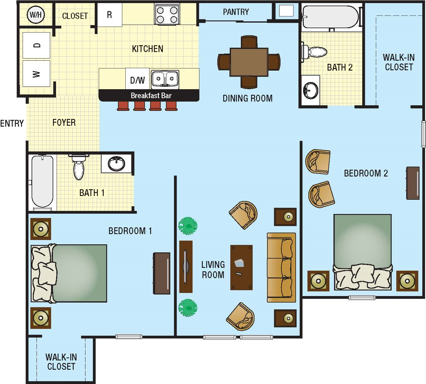 Two Bedroom/Two Bath Floor Plan 2