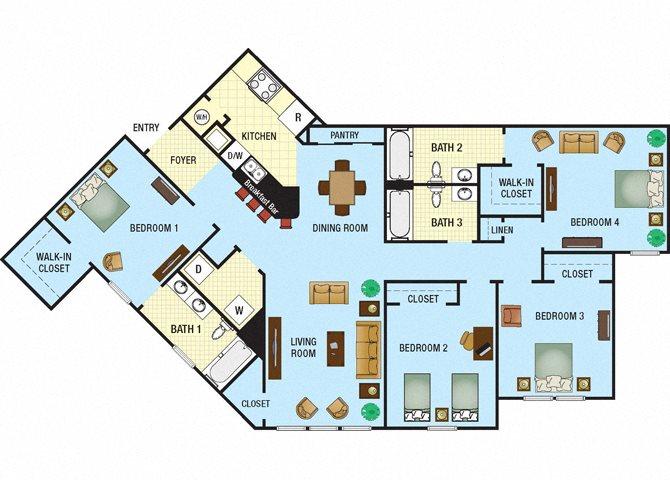 Four Bedroom Three Bath Floor Plan 4
