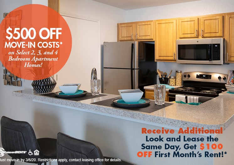 $500 OFF Select 2, 3, and 4 Bedroom Apartment Homes Must Move in by 3/6/20.  Look and Lease Special- Tour Apartment and apply within 24 hours of show and receive $100 off 1st full month's rent